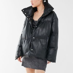 Urban Outfitters Faux Leather Puffer